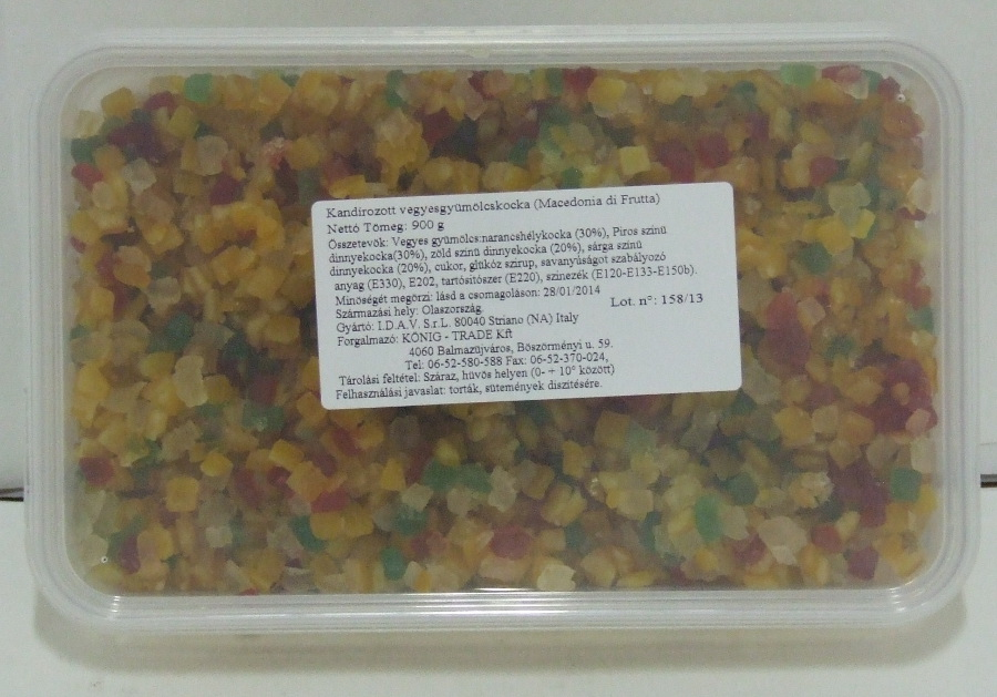 Kandírozott Vegyes gyümölcs 900 gr/dob